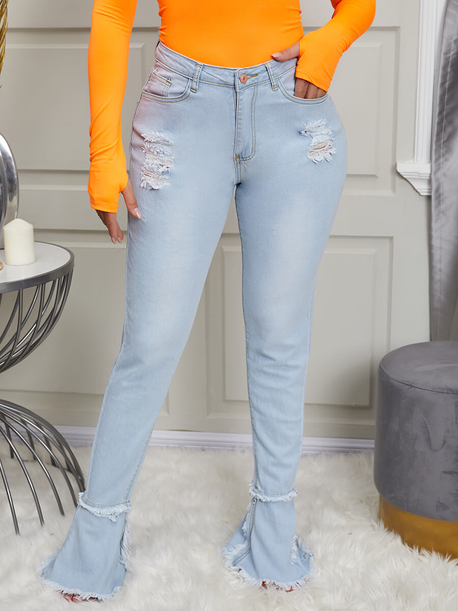 LW Lovely Stylish High-waisted Broken Holes Baby Blue Jeans