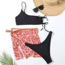 3 piezas Bañador bikini con un hombro con falda de playa