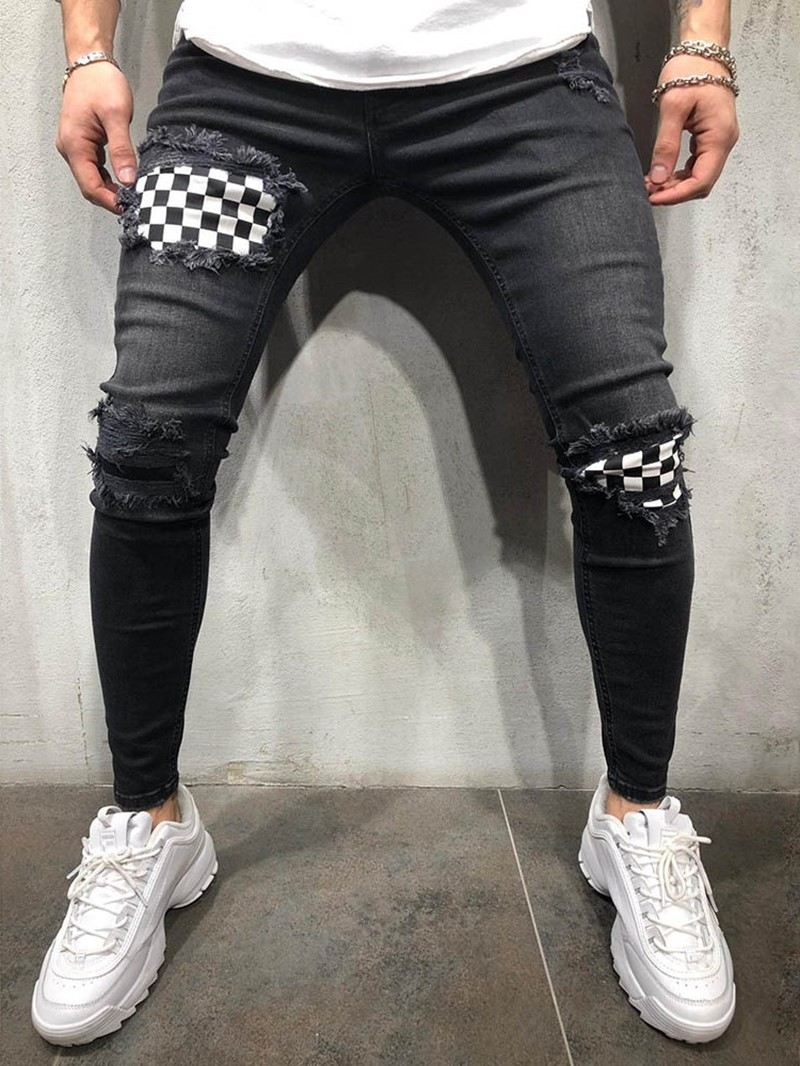 Ericdress Color Block Thin Mens Zipper Jeans