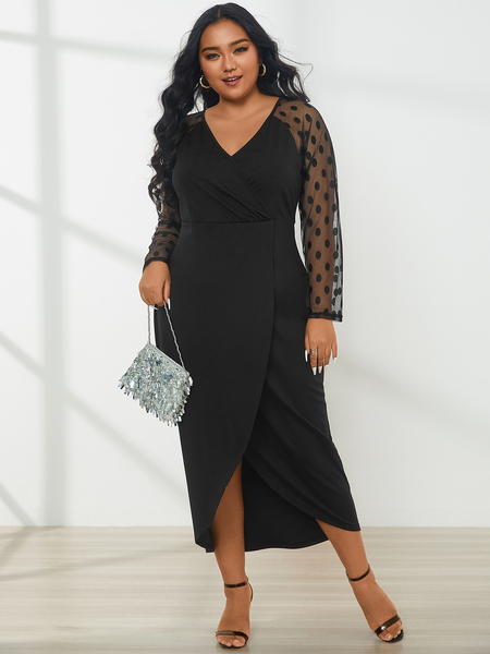 YOINS Plus Size V-neck Slit Design Polka Dot Mesh Maxi Dress
