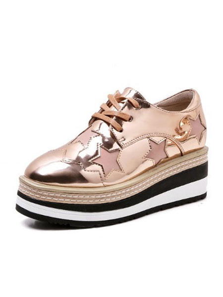 Milanoo Women Platform Sneakers Gold Round Toe Star Pattern Lace Up Casual Shoes