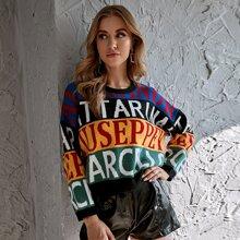 Pullover mit Farbblock, Buchstaben Grafik und sehr tief angesetzter Schulterpartie