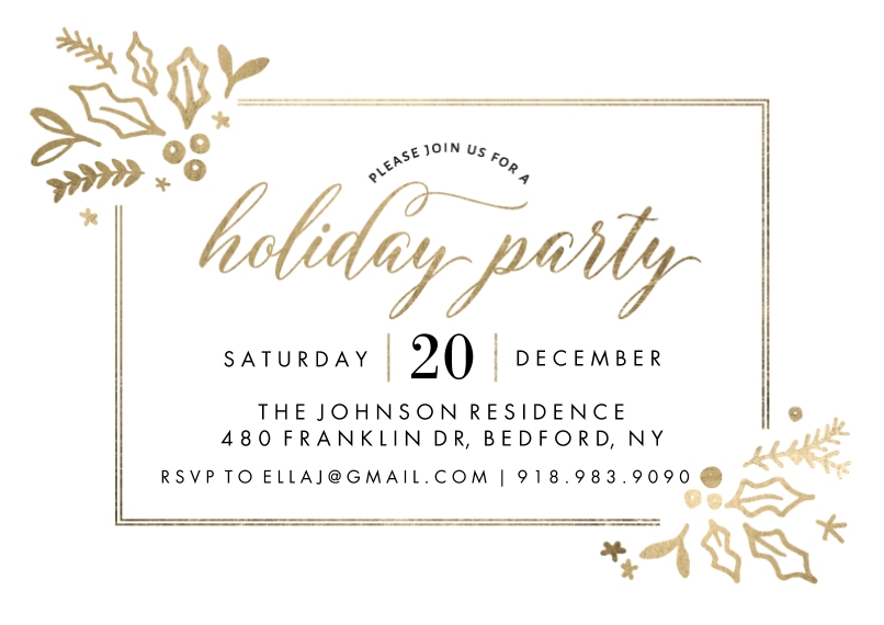 Christmas & Holiday Party Invitations 5x7 Cards, Standard Cardstock 85lb, Card & Stationery -Holiday Invite Gold Foliage (5x7)
