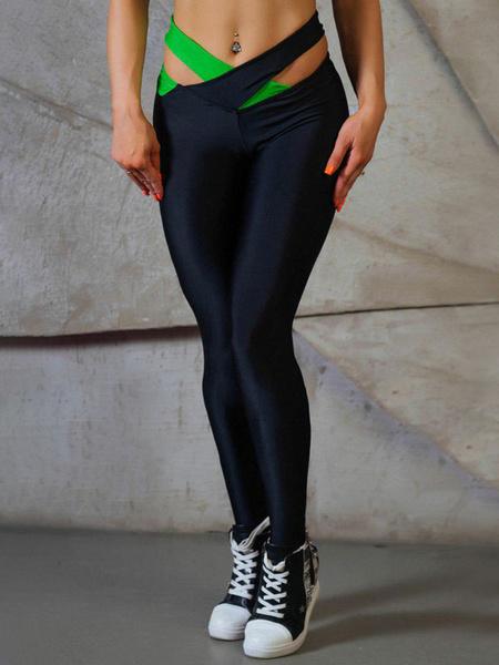 Milanoo Women Yoga Pants Stretchy Two Tone Yoga Leggings