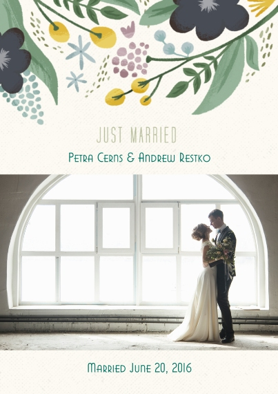 Just Married 5x7 Cards, Standard Cardstock 85lb, Card & Stationery -Floral Just Married Wedding Set