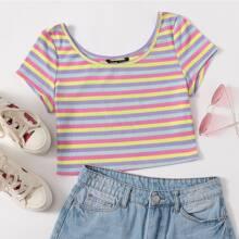 Rippenstrick T-Shirt mit Regenbogen Streifen
