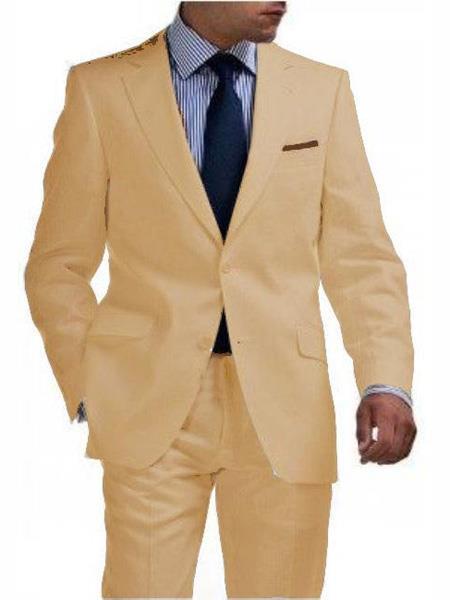 Mens & Boys Sizes 2 Button Linen Khaki Suit Any Size Jacket & Pants