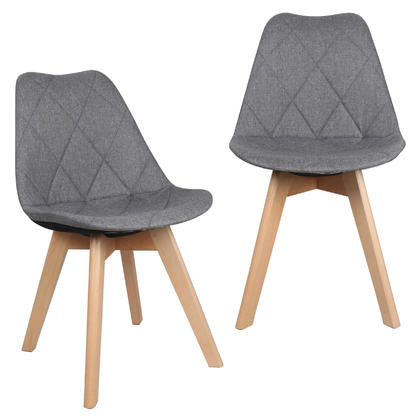 Fabric Kitchen & Dining Chairs with Beech Wood Legs, Gray - Moustache@ - 1/Pack