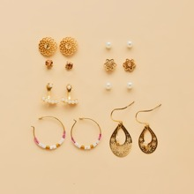 8pairs Girls Faux Pearl Decor Earrings
