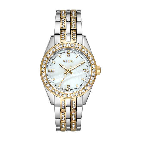 Relic By Fossil Iva Womens Crystal Accent Two Tone Bracelet Watch-Zr34536, One Size , No Color Family