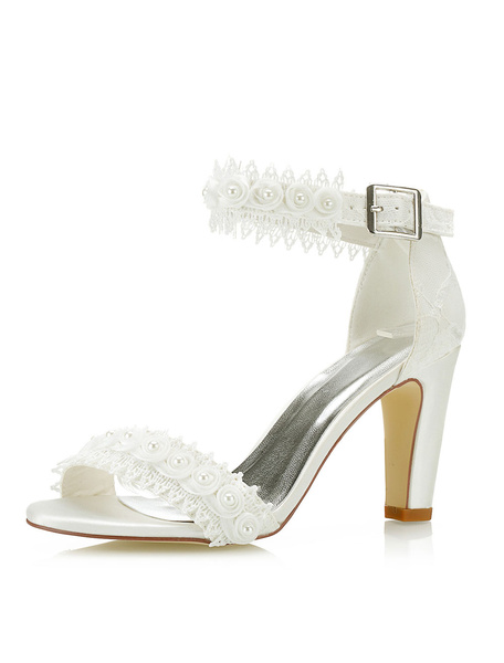 Milanoo Lace Wedding Shoes High Heel Open Toe Flowers Beaded Ankle Strap Bridal Sandals
