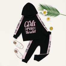 Hoodie mit Buchstaben Grafik & Jogginghose