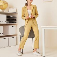 One Button Peak Collar Split Hem Blazer And Pants Set