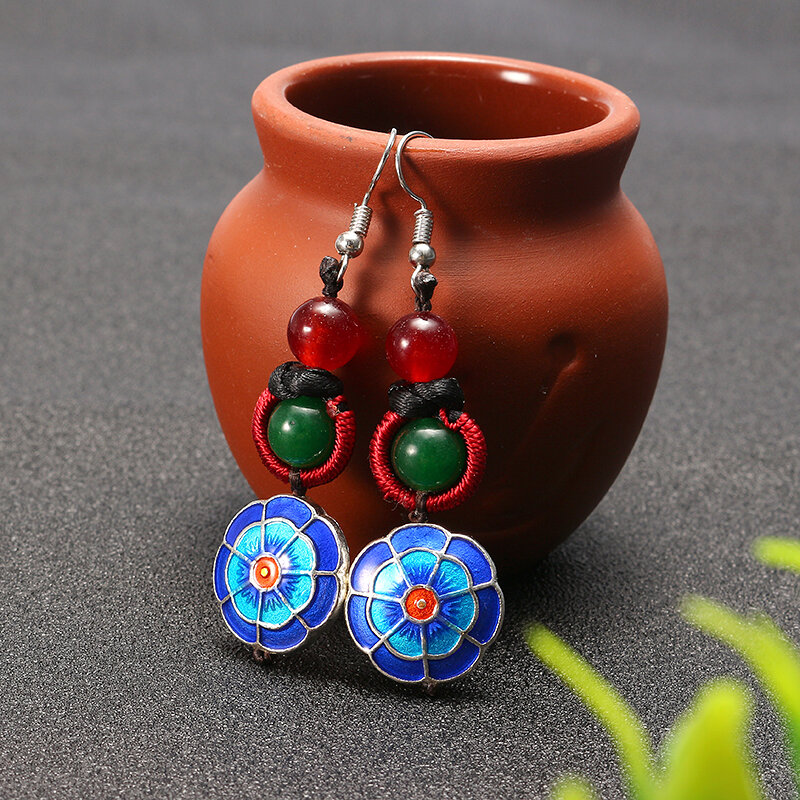 Ethnic Retro Earrings Tassel Agate Vintage Earrings