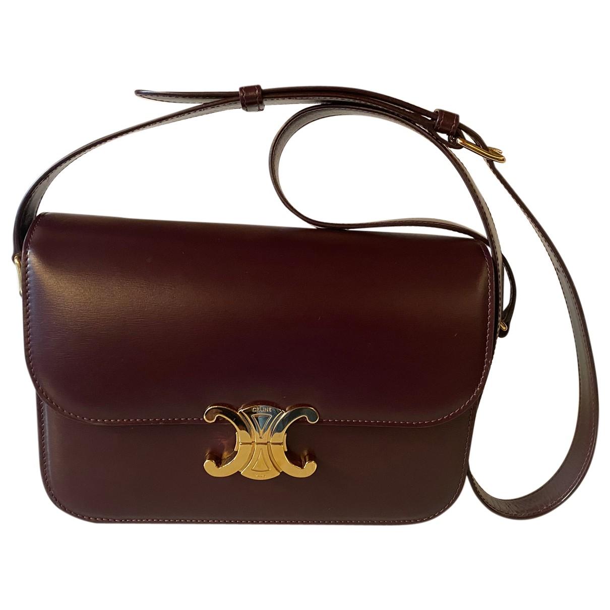 Celine Triomphe Burgundy Leather handbag for Women \N