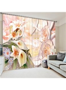 Lush Decor 3D Floral Blackout and Dust-proof Curtain for Living Room Bedroom 200g/㎡ Polyester No Pilling No Fading No off-lining