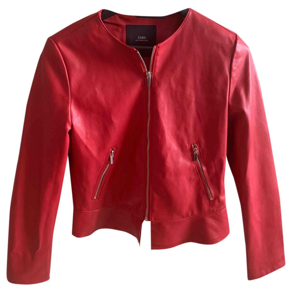Zara N Red Leather jacket for Women 36 IT