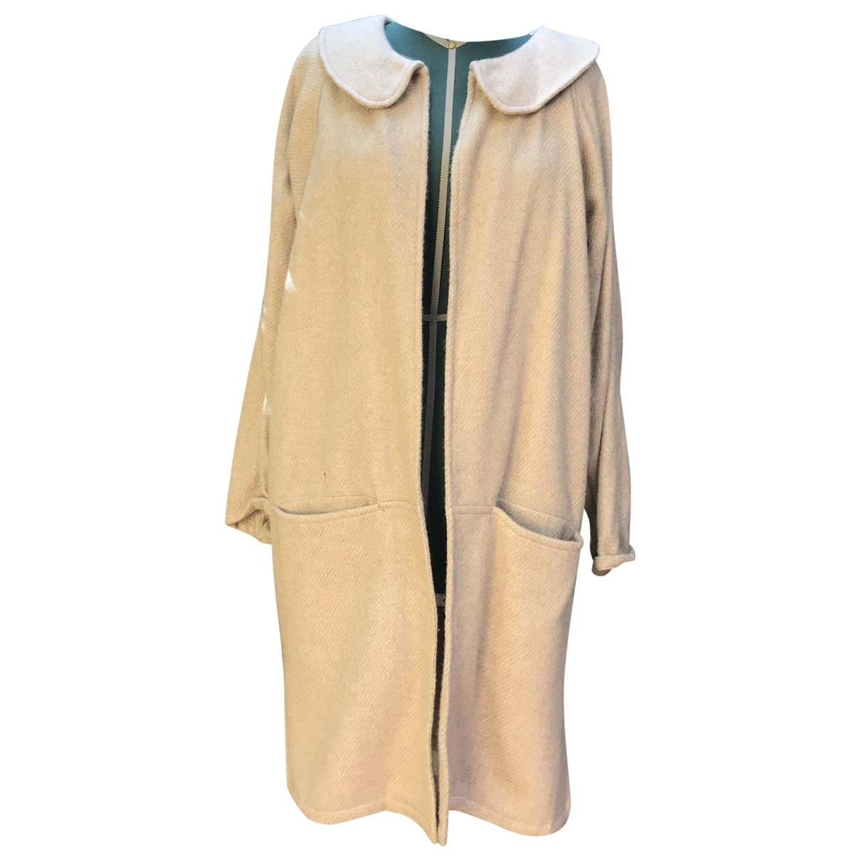 Non Signé / Unsigned Oversize Beige Wool coat for Women One Size FR