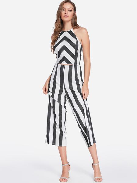 Yoins Black Backless Design Stripe Halter Sleeveless Middle-waisted Jumpsuit