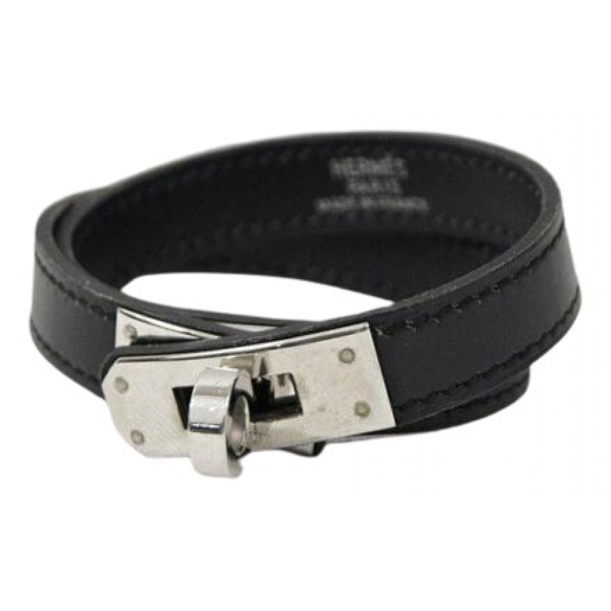 Hermes Kelly Double Tour Armband in  Schwarz Leder