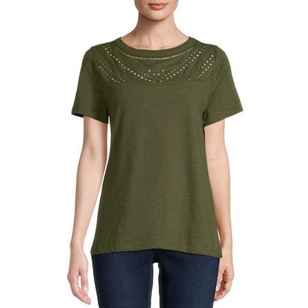 St. Johns Bay-Womens Round Neck Short Sleeve T-Shirt, Large , Green
