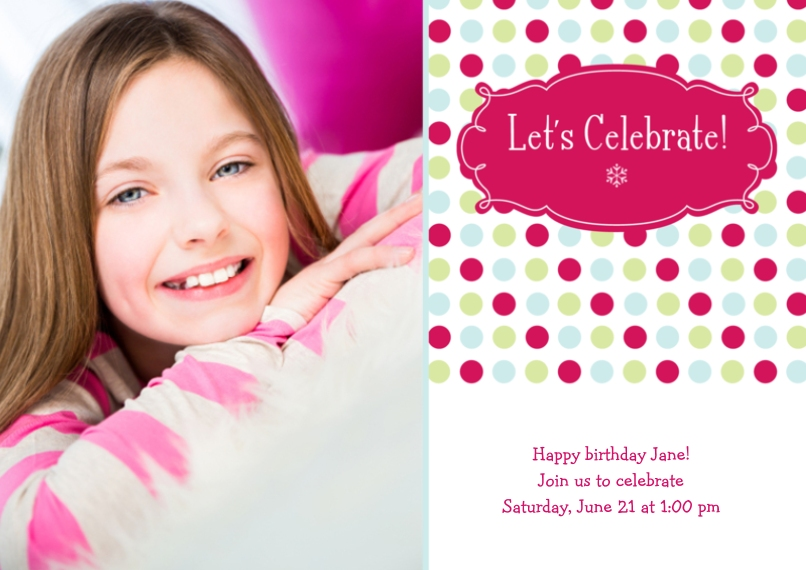 Kids Birthday Party 5x7 Cards, Premium Cardstock 120lb with Rounded Corners, Card & Stationery -Polka Dot Celebration