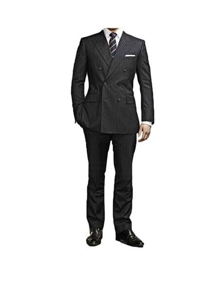 Mens Kingsman Black Striped Pattern Double Breasted Button ClosureSuit