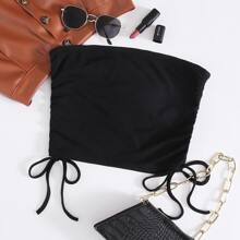 Drawstring Side Solid Tube Top