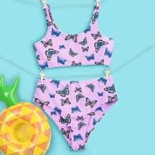 Bikini Badeanzug mit Schmetterling Muster und hoher Taille