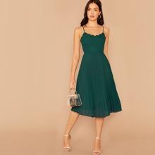 Scallop Edge Pleated Detail Cami Dress
