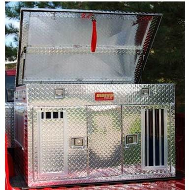 Owens Products 55044 Dog Box Hunter Series Double Compartment with Top Storage / Tall / 48 W x 45 D x 32 H / All Seasons Vents / Diamond Tread Aluminu