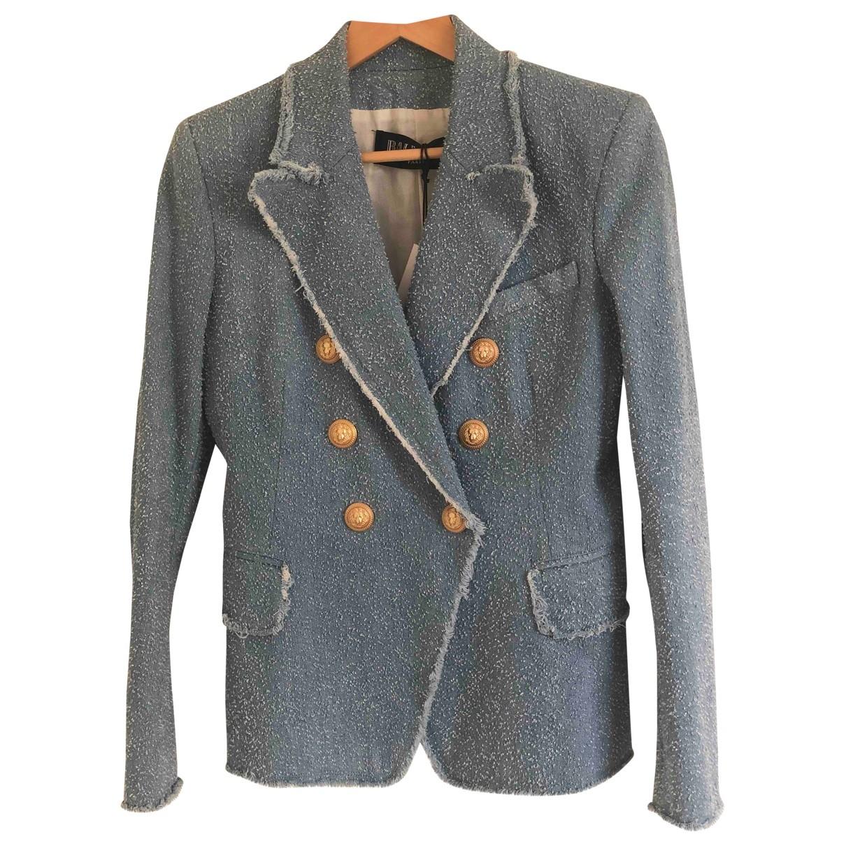 Balmain - Veste   pour femme en coton - bleu