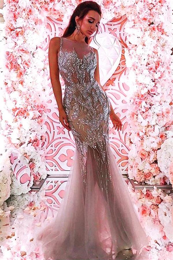 Ärmellose silberne Perlen Kristalle Abendkleider 2021 | Sexy Tuell Meerjungfrau Guenstige Ballkleider