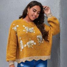 Pullover mit Kontrast Pailletten und Bogenkante