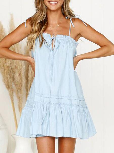 Milanoo Vestido de verano Correas blancas Cuello Correas ajustables Volantes Cordones Vestido de playa sexy de algodon