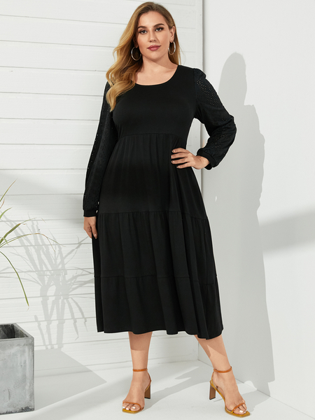 YOINS Plus Size Round Neck Long Sleeves Maxi Dress