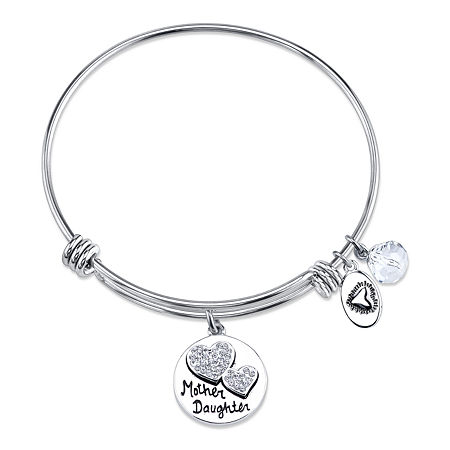 Footnotes Clear Silver Tone Bangle Bracelet, One Size , No Color Family