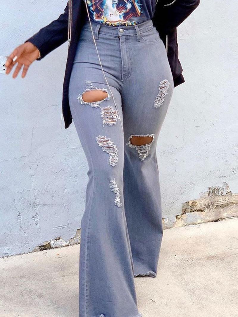 Ericdress Hole Plain Bellbottoms High Waist Slim Jeans