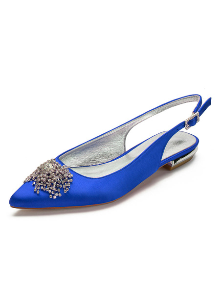Milanoo Wedding Guest Shoes Ivory Pointed Toe Rhinestones Flat 0.6 Bridal Shoes Satin Mother Of The Bride Shoes