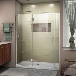 DreamLine Unidoor-X 57 1/2-58 in. W x 72 in. H Frameless Hinged Shower Door (Left-Wall Installation - Brushed Nickel Finish)