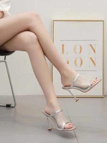Milanoo Zapatillas negras de sandalias de tacon alto para mujer