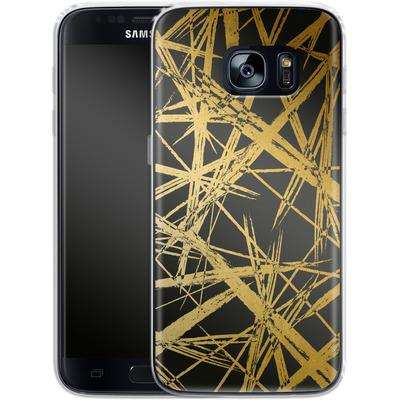 Samsung Galaxy S7 Silikon Handyhuelle - Strokes Gold Black von Khristian Howell