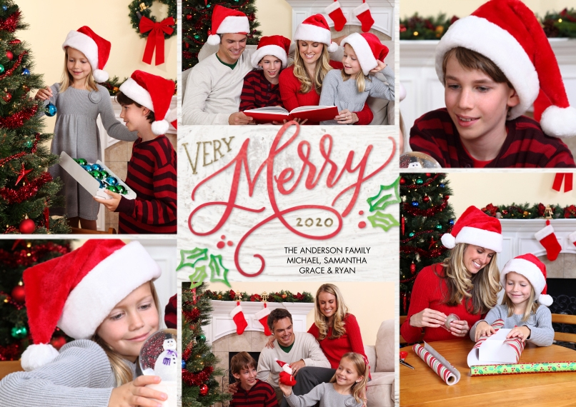 Christmas Photo Cards 5x7 Cards, Premium Cardstock 120lb with Scalloped Corners, Card & Stationery -Christmas 2020 Very Merry by Tumbalina