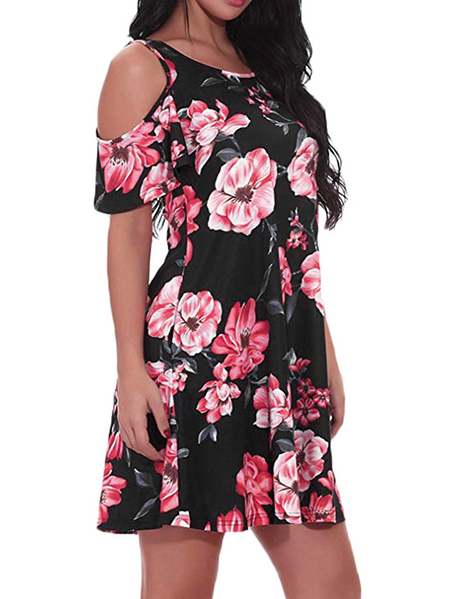 Yoins Random Floral Print Cold Shoulder Short Sleeves Dress