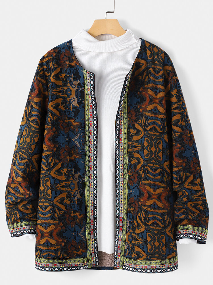 Vintage Printed Long Sleeve Patchwork Coat For Women