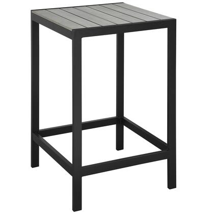 Maine Collection EEI-1511-BRN-GRY 27 Outdoor Patio Bar Table with Solid Wood Slat Top  Powder Coated Aluminum Frame and Plastic Base Glides in Brown