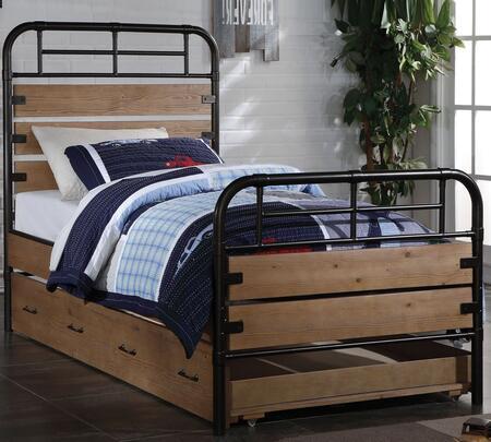 Adams Collection 30610T12 Twin Size Panel Bed with Trundle  Metal Frame  Wooden Panels  Engineered and Pine Wood Construction in Antique Oak