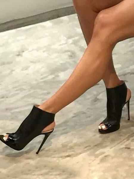 Milanoo Zapatos negra de PU de punter Peep Toe de tacon de stiletto Otoño estilo street wear estilo moderno