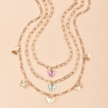 3pcs Butterfly Charm Chain Necklace