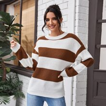 Rib-knit Two Tone Striped Sweater
